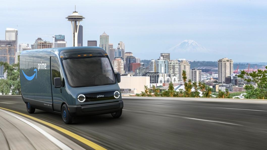 Den nye varebilen som Rivian skal levere 100.000 eksemplarer av til Amazon innen 2030. Allerede i 2022 skal det rulle rundt 10.000 slike på veien.