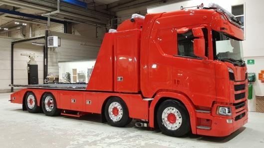 Denne Scania-en har det nye Scania Next Gen R-settet var stilt ut på Transport & Logistikk.
