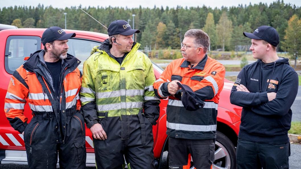 Bilbergerne samlet i anledning pressedag for sesong 4 av «Vinterveiens helter». Fra venstre: Bjørn Lægreid, Thord Paulsen, Roger Heggli og Ole Henrik Blengsli.