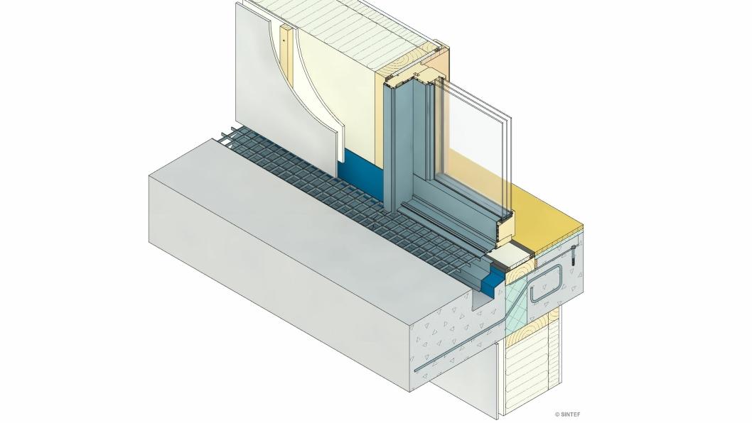 Eksempel på fuktsikker terskelløsning for balkong eller svalgang med betongdekke og opphengt bærekonstruksjon og med renne ved yttervegg.