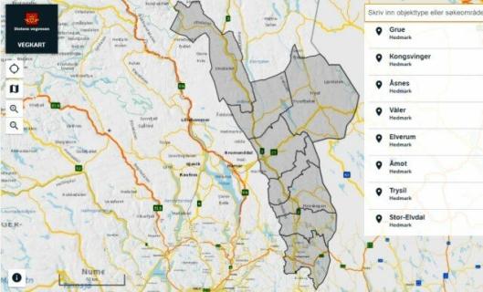 Området i Hedmark - åtte kommuner - der det skal kunne kjøres med opp til 74 tonn totalvekt på tømmervogntog.