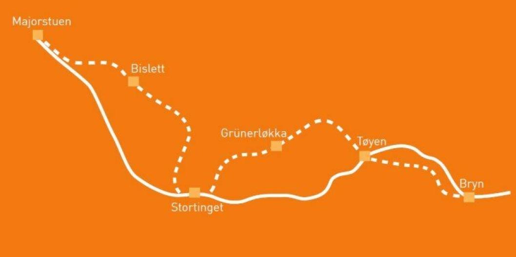T-banetunnelen planlegges fra Majorstuen via Stortinget til Tøyen. Det vil i videre planfaser bli vurdert om tunnelen bør forlenges til Bryn. Det anbefales ny stasjon på Bislett og Grünerløkka. Antall stasjoner og konkret lokalisering av oppganger vil vurderes i videre planfaser.