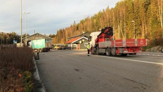Taraldrud kontrollstasjon ved E6 nordgående, sør for Oslo, er ett av flere steder der det er gjennomført tungbilkontroller de siste dagene.