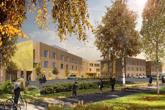 Det nye bo- og behandlingssenteret i Verdal sentrum får 132 institusjonsplasser.