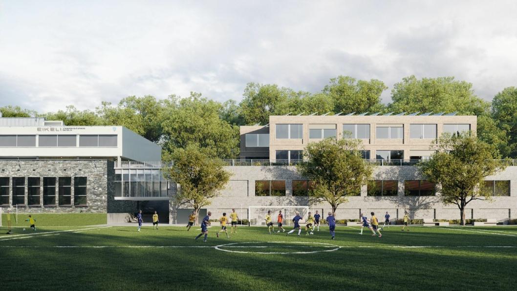 Slik er ny Eikeli VGS i Bærum planlagt se ut.
