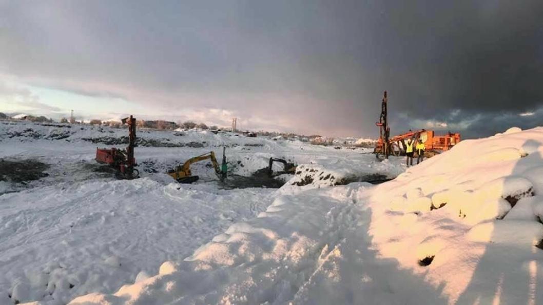 LNS sine maskiner er godt i gang med byggingen av det nye fiskeeventyret på Andøya.