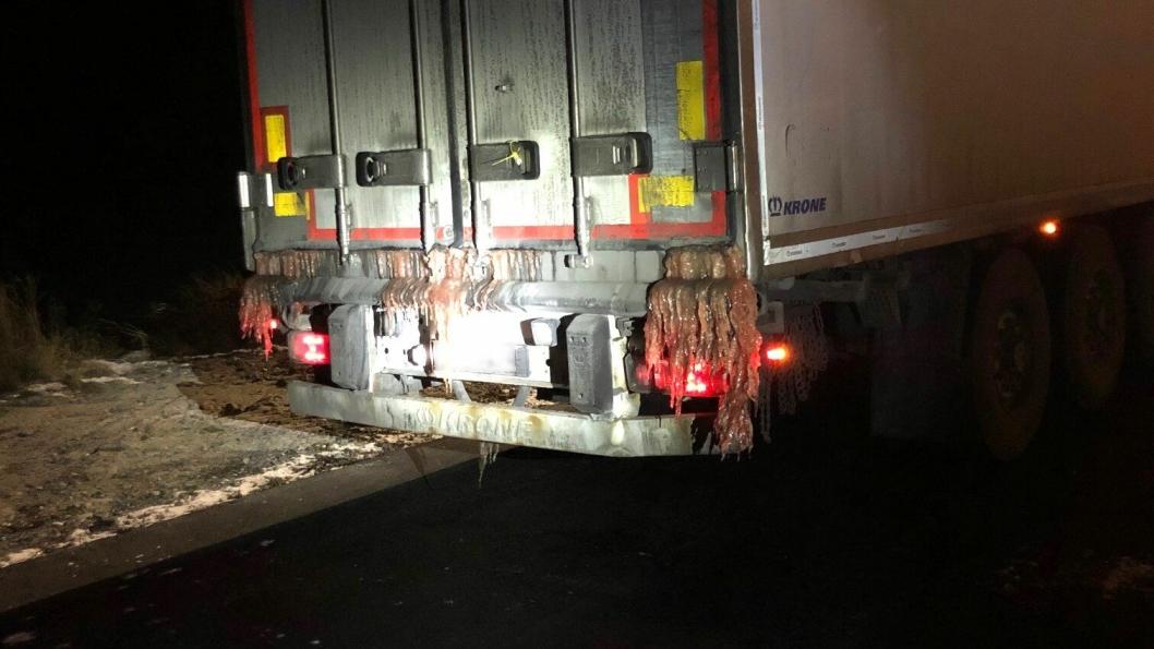 En av de fire vogntogene som fikk i kjøreforbud på grunn av avrenning av fiskevann i Alvdal nylig.