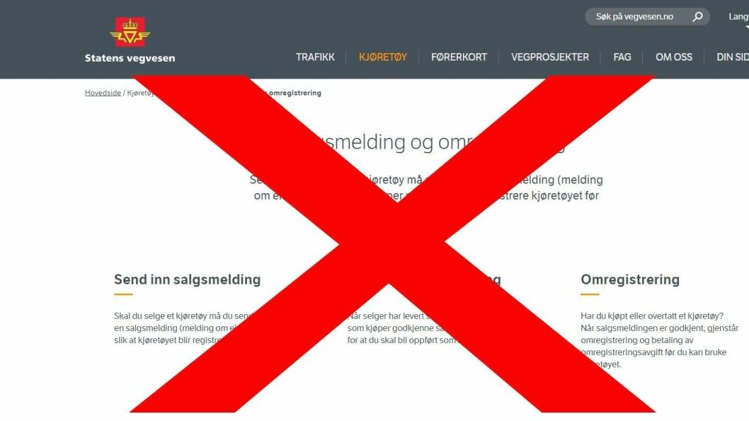 Det vil blant annet ikke være mulig å levere salgsmelding og foreta omregistrering på vegvesen.no 22.-24. november.