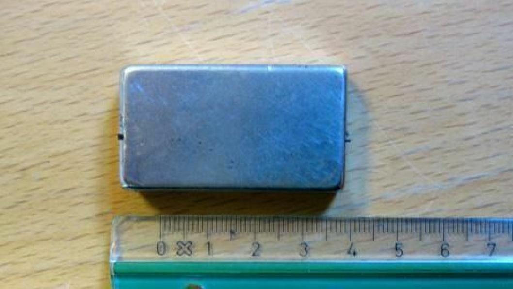 ILLUSTRASJONSBILDE. Magneter som brukes til å sette fartsskrivere av spill er ofte på denne størrelsen. Bildet er fra en som bla funnet i en kontroll i Norge i 2015. Det var altså ikke denne som ble funnet i den polske underbuksa.
