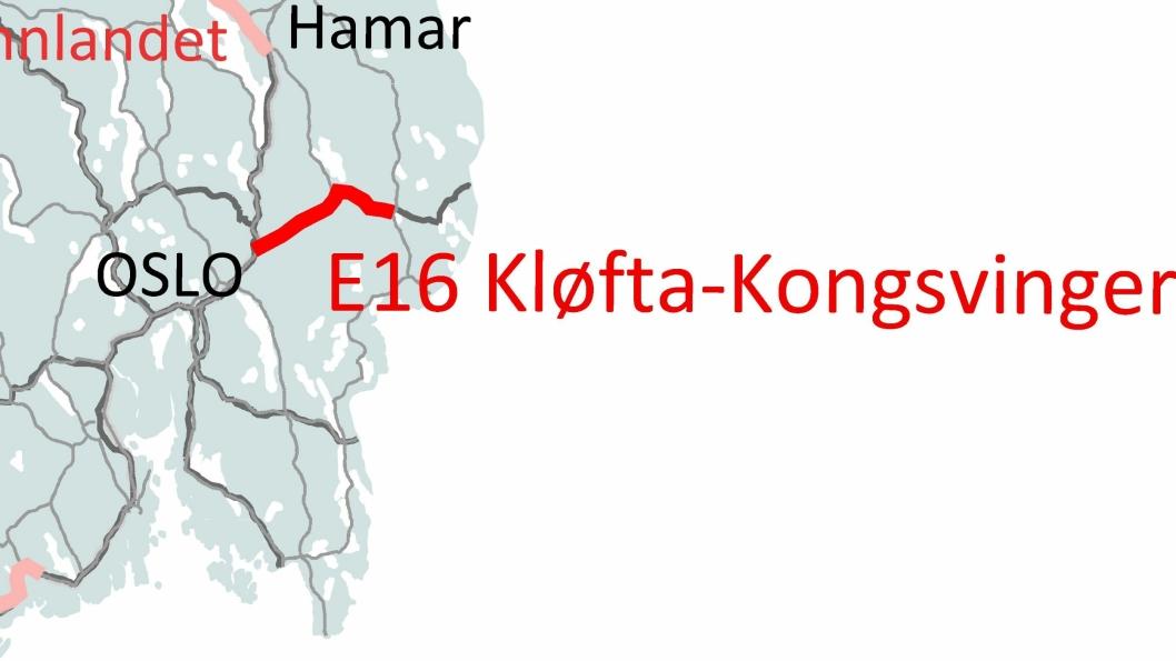 Strekningen E16 Kløfta-Kongsvinger (merket med mørk rød) ble tildelt Nye Veier AS av Samferdselsdepartementet i 2019 for utbygging.