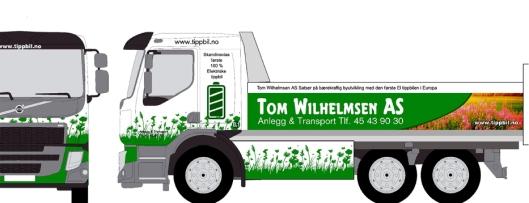 VISJONEN: Slik kan de elektriske tippbilene til Tom Wilhelmsen AS bli seende ut.