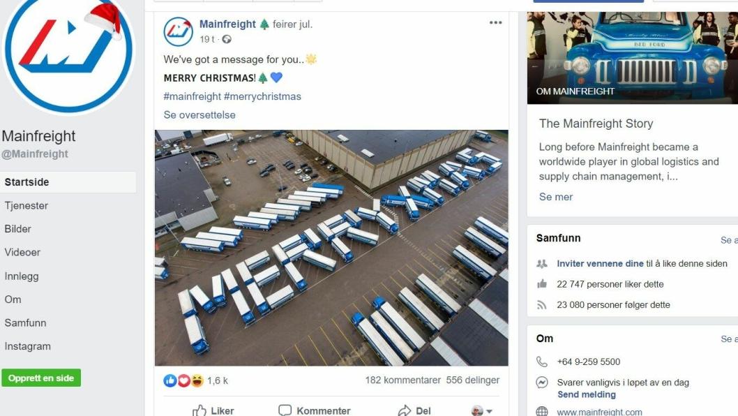 Bedriften Mainfreight  på New Zealand har tatt juleferie. Parkeringen er i særklasse.