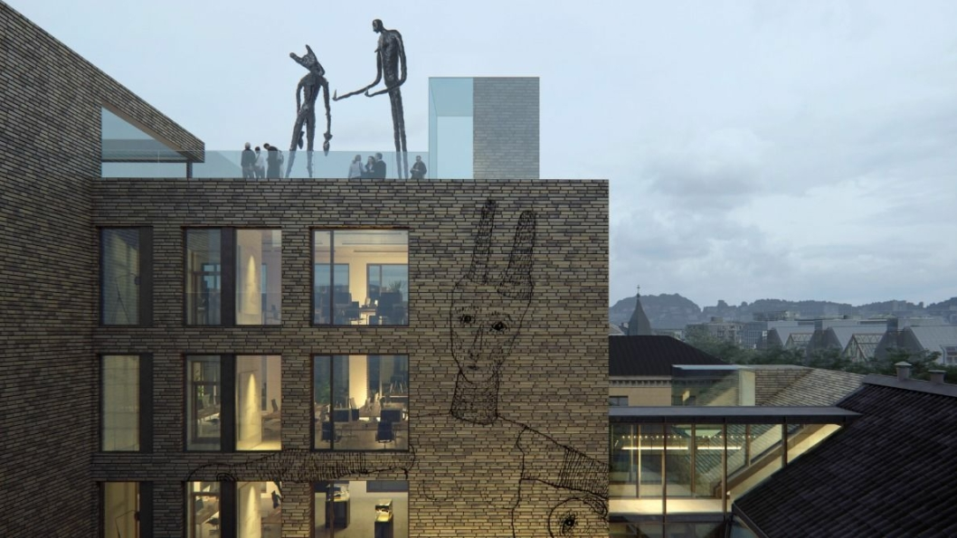 Illustrasjon av det nye kunstsenteret.