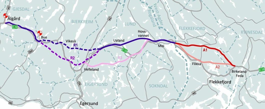 Nye Veier anbefaler korridorene R1 og A1 på E39 mellom Lyngdal og Ålgård.