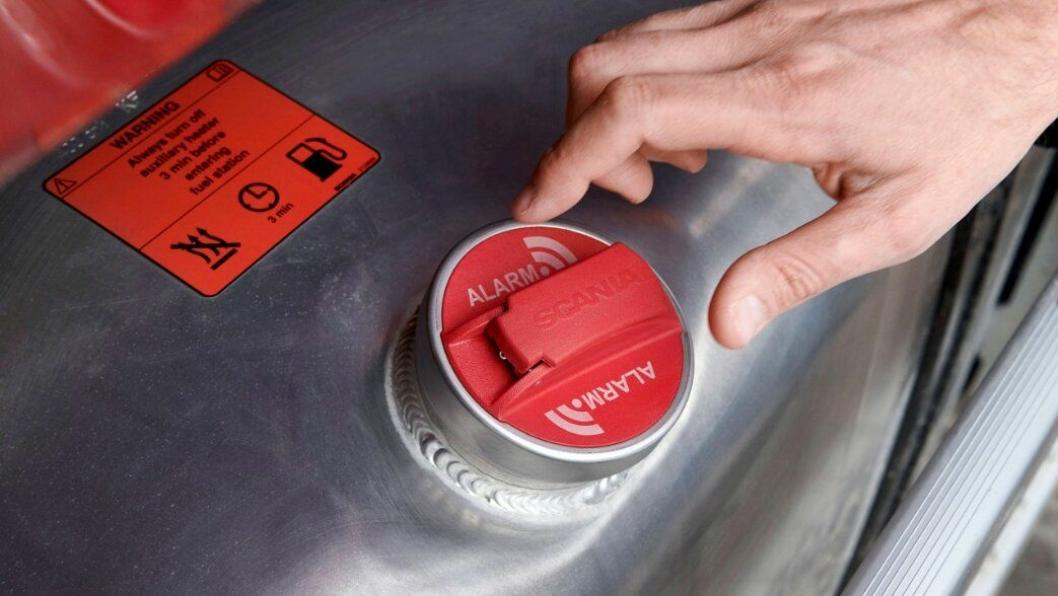 Scania opplyser i en nyhetsmelding at det skal bli mulig å ha tyverialarm på drivstoffnivået på Scania-er.
