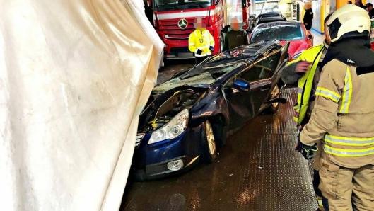 Det satt ingen i denne bilen da den ble knust på fergen Bastø 1 mellom Moss og Horten.