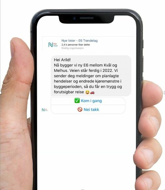Nye Veier er først ute til å bruke Messenger og chatbot-teknologi som informasjonskanal for trafikknyheter.