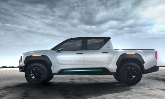 Skisse av den elektriske pickupen Nikola Badger som det skal vises en fysisk versjon av høsten 2020 i USA.