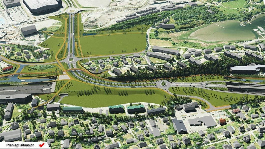 Det er planlagt store forandringer på E18 vestover fra Oslo, gjennom Bærum. Illustrasjonen viser et nytt planlagt lokk over E18 ved Stabekk.