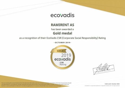 Ramirents EcoVadis-sertifikat for bærekraft og samfunnsansvar.