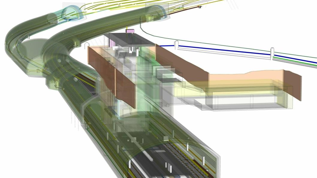 Flytårnet stasjon i Fornebubanens BIM-modell.