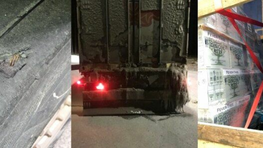 Tre eksempler på kjøreforbud. Fra venstre: Nedslitt dekk der cord er synlig, avrenning fra lastebil har frosset foran lys og skilt og last som ikke er sikret godt nok.