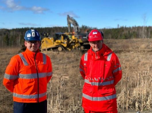 Prosjektleder Ole-Petter Jensen i Skanska og byggeleder Pål-Steinar Karlsen i Statens vegvesen, skal samarbeide tett i byggeperioden for ny E16 i Jevnaker kommune.