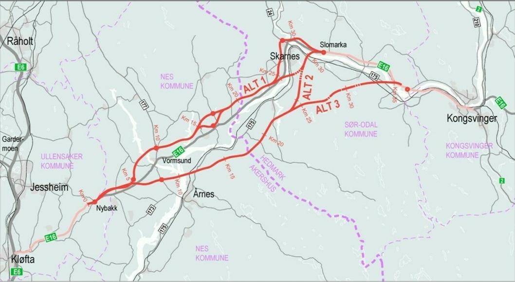 Kartet viser området hvor det skal lages kommunedelplan for ny E16 fra E6 og til Kongsvinger.