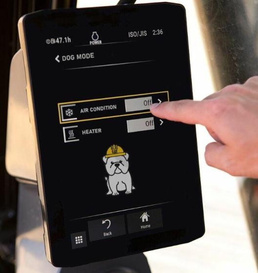 «Dog Mode»-innstillinger på touchskjermen.