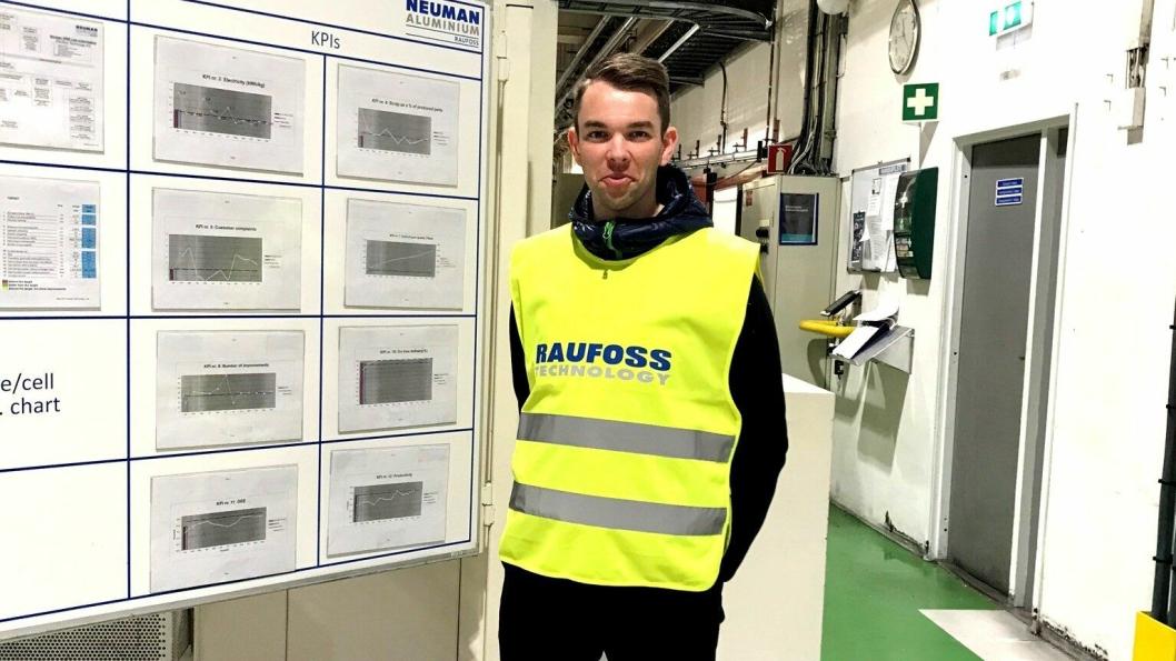 Henrik Skjørstad, student ved logistikkstudiet, Fagskolen Innlandet. Bilde fra bedriftsbesøk hos Raufoss Neuman/ Raufoss Technology.