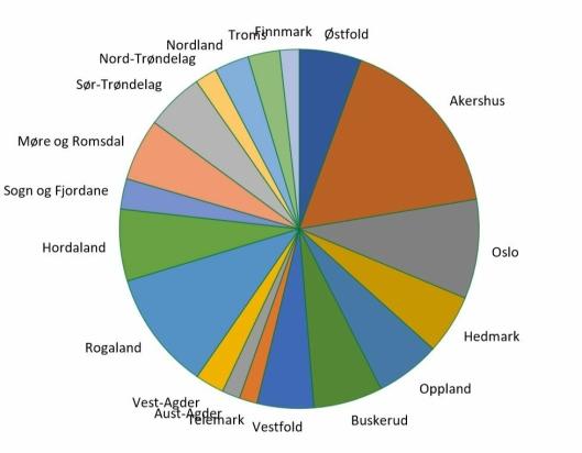 Kakediagrammet viser relativ andel av totalt solgte anleggsmaskiner i 1. kvartal 2020 fordelt på gammel fylkesstruktur.