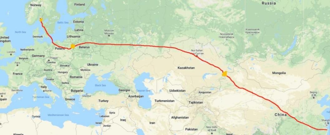Ruten går fra Yuyao i Kina via Kasakhstan, Russland, Hviterussland, Polen og Sverige. - Vi er litt spente på hvor lang tid grensepasseringene vil ta, sier Vegard Kristiansen i Prime Cargo.