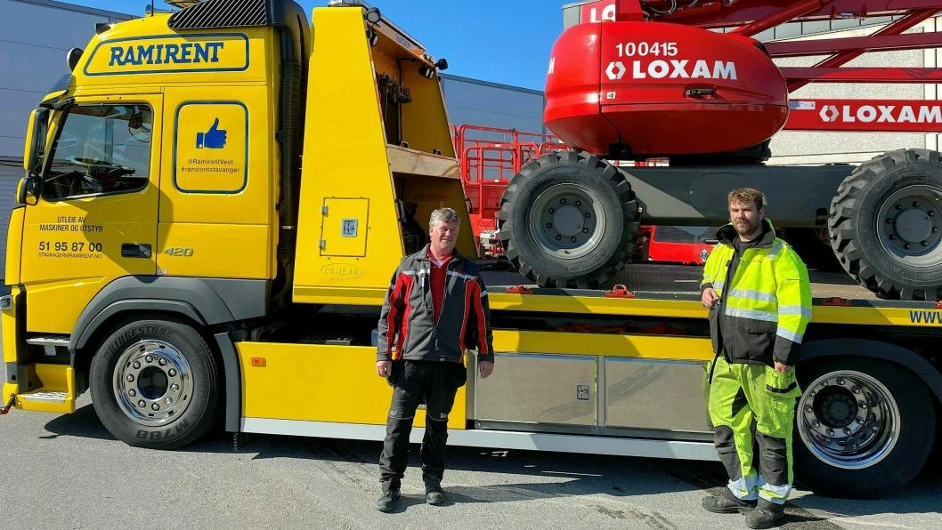 Piet Bartels (t.v.) og Eivind Vaaland hos Loxam på Forus blir nå en del av Ramirent Stavanger.