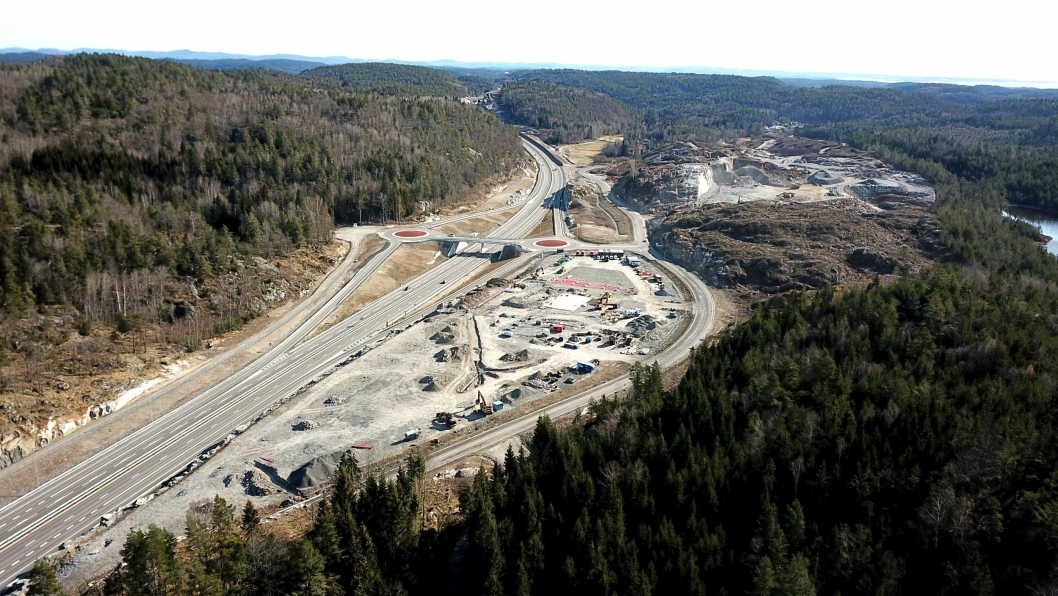 Oversiktsbilde fra byggingen av anlegget ved Langrønningen i Bamble.