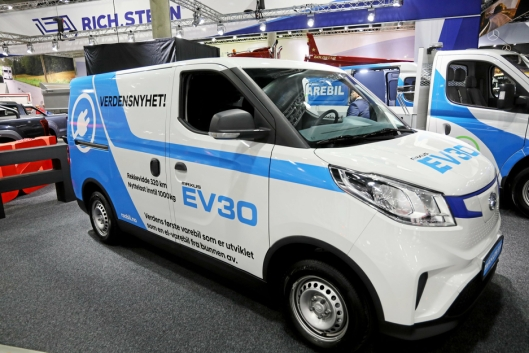 Maxus e-Deliver 3 ble vist frem som Maxus EV30 under Transportmessen på Lillestrøm sist høst.
