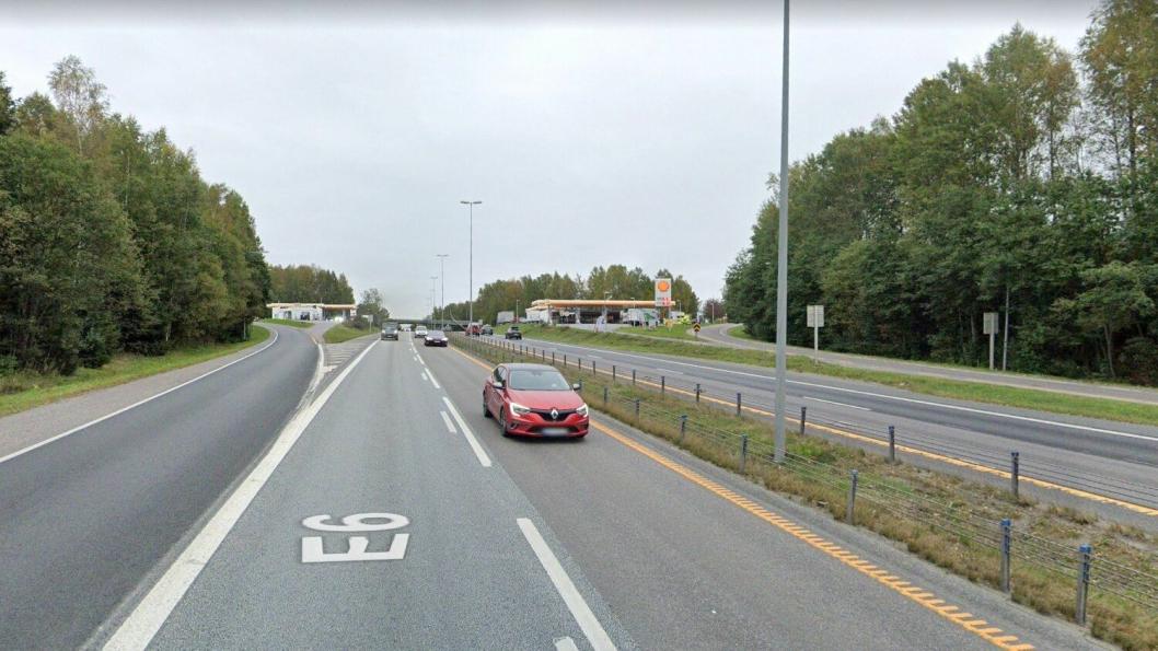 E6 Skedsmovollen. Her skal det bygges utvidelse av eksisterende av- og påkjøringsramper slik at kollektivtransporten kommer lettere frem.