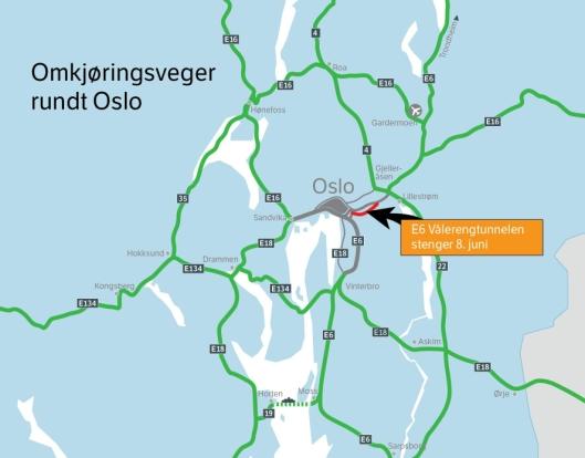 Ett av løpene i Vålerengtunnelen vil være stengt fra 8. juni 2020 til februar 2021. Kartet viser andre veier som kan være alternativ når Oslo skal passeres.