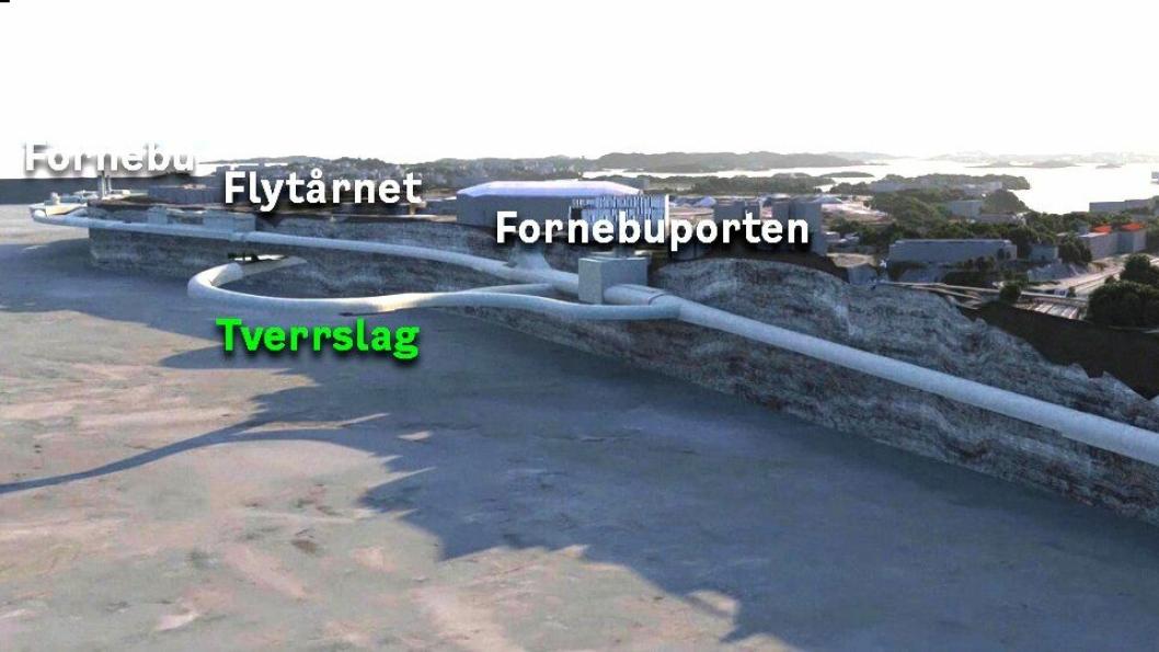 Første store tunnelentreprise mellom Lysaker og Fornebu.
