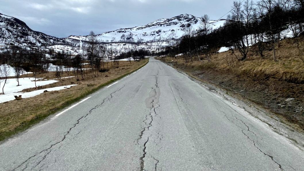 Nerskogsveien før asfaltering våren 2020.