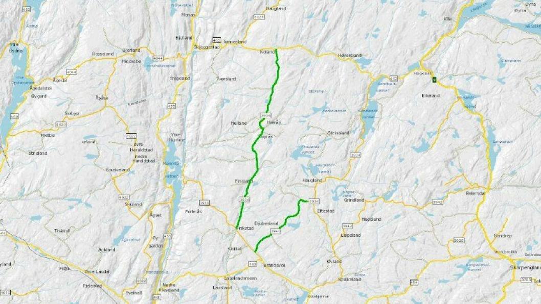 Det skal utføres veitester på fylkesvei 3940 Djupeslandsveien og fylkesvei 3936 Finslandsveien i Agder over en periode på fem år.