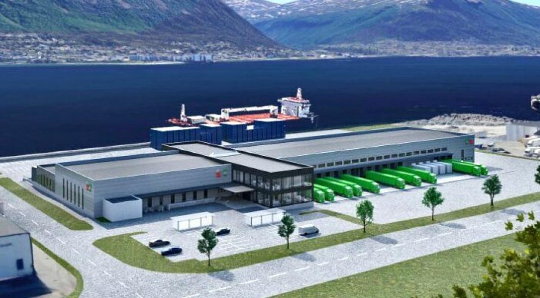 Slik vil Posten og Brings nye logistikksenter i Breivika i Tromsø se ut når det er ferdig.