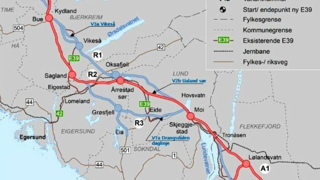 Anbefalt korridor- markert med rød linje.