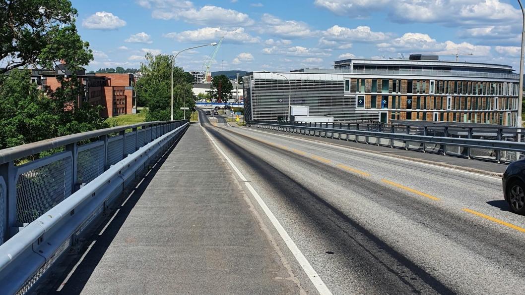 Bilde fra Lillestrømbrua i Lillestrøm kommune.