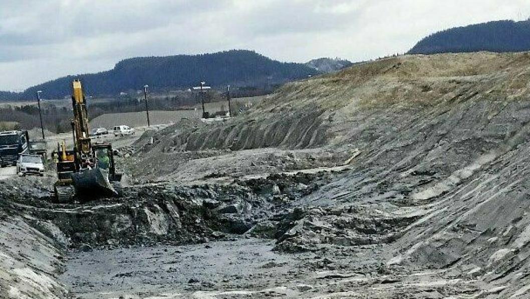 STORT ARBEID: Stabilisert byggegrunnen for nye E6 forbi Klett, Trondheim hvor det ble blandet kalk og sement i over 44.000 borehull, som hver er opptil 25 meter dypt.