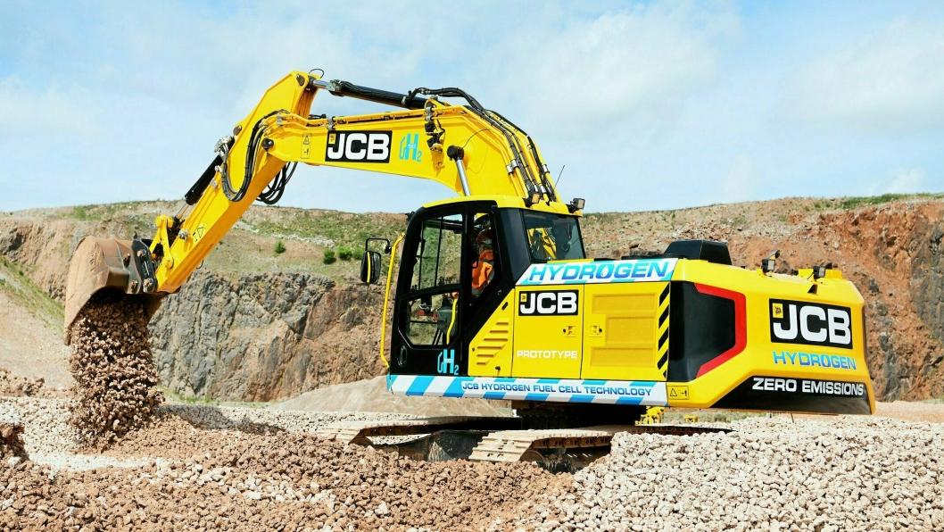 PROTOTYPE: JCB har utviklet brenselcelle, elektrisk motor og hydrogen som energikilde til 20-tonneren JCB 220X.