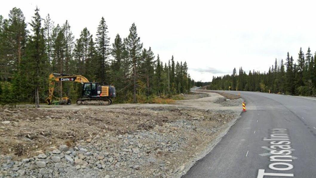 Bilde fra fylkesvei 33 Tonsåsen i september 2019, på en del av strekningen arbeidet hadde kommet langt på da.