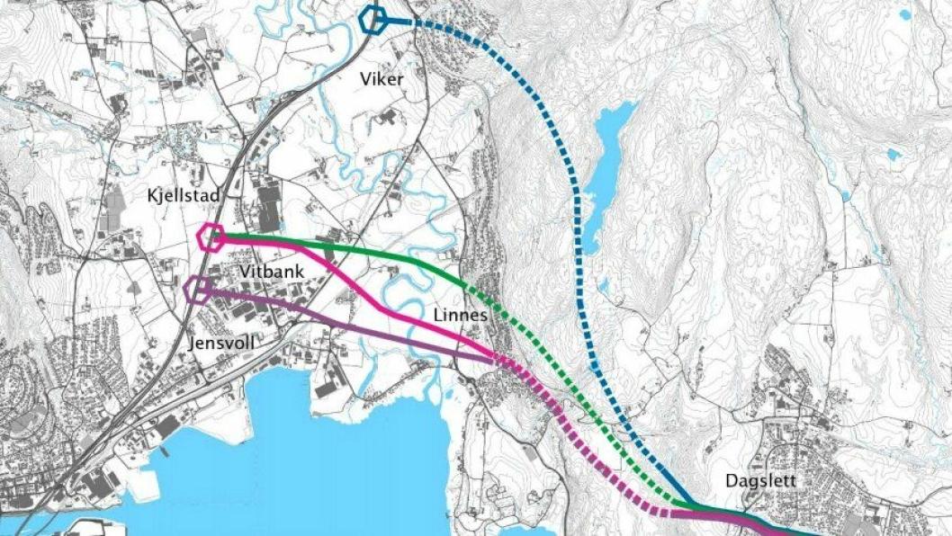 Kartet viser de fire korridorene/traséene som er aktuelle for ny vei mellom Dagslett og E18 øst for Drammen i Viken fylke.