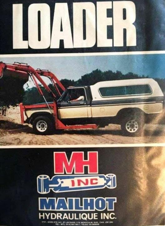 Faksimile av bruksanvisningen på lasteren, markedsført av Mailhot Hydraulique Inc.