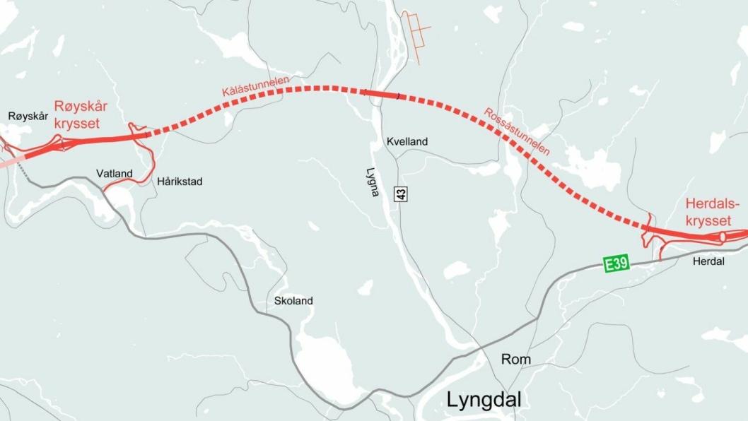 Det skal bygges ti kilometer ny E39-motorvei gjennom et kupert landskap i Lyngdal kommune i Agder. Åser skal forseres med tunneler og dype daler krysses med bruer i landskapet som ifølge Nye Veier har form som en eggekartong.