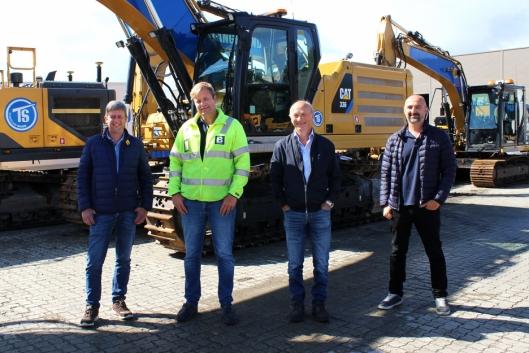 Dette blir ledelsen i Birkeland AS. Fra venstre: Toralf Sørhus (anleggsleder), Kai Peder Birkeland (daglig leder), Torleiv Halleland (markedssjef) og Helge Mundal (HMS-KS leder).